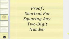 Proof - Shortcut Method Of Squaring A Two Digit Number