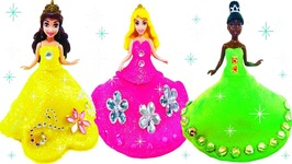 Learn Colors Play Doh Making Colorful Sparkle Barbie Disney Princess Dress High Heel Toys For Kids