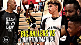 Lamelo Ball And Big Ballers Worst Loss Ever To Compton Magic W/ James Harden Watching Lose By 50
