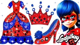 Play Doh Sparkle Miraculous Ladybug Princess Shoes High Heel Dress Crown Learn Colors