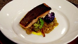 Chef Luke Polles-Faroe Island Salmon over Warm Bulgur Wheat Salad with Infused Yogurt