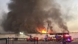 Las Vegas Fire Crews Battle Massive Blaze at Former Moulin Rouge Site