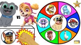 Paw Patrol Vs Puppy Dog Pals Toys Spinning Wheel Game Surprise