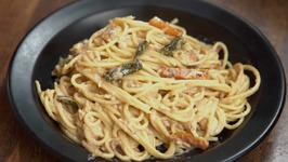 Creamy Mushroom Spaghetti - How To Make Creamy Mushroom-Chicken Pasta - Italian Pasta Recipe - Neha