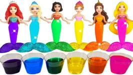 How To Make Rainbow Water Paint Colors Play Doh Sparkle Mermaid Dresses For Disney Princess Dolls