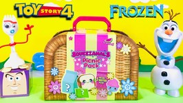 Olaf  Forky's SQUEEZAMALS PRETEND PICNIC PACK w/ Toy Story 4 & Frozen 2 Toys