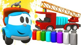 Colors with Leo The Truck- Leo Paints Fire Truck