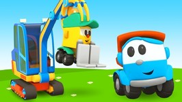 Learn Vehicles for Kids with Leo the Truck- A Pipe-Laying Crane for Kids - Car Cartoons for Babies