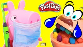 DENTIST PEPPA PIG Brushes Dr Drill n Fill Play Doh Candy Teeth - LEARN COLORS Kids Video