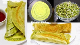 Sprouted Mung Or Moong Bean Dosa