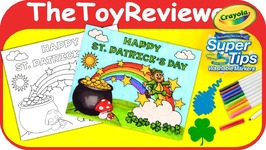 St Patricks Day Coloring Page Rainbow Gold Crayola Holiday Unboxing Toy Review