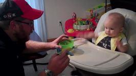 Little Boy Love His Airplane Spoon