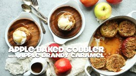 Baked Apple Pie Cobblers With Brandy Caramel