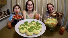 Russian Feast - Boiled Potatoes With Smoked Herring And Salad / Gay Family Mukbang  - Eating Show