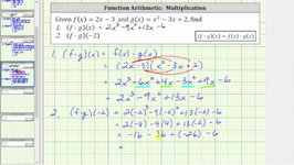 Function Arithmetic Product - (fg)(x) and (fg)(-2)