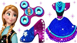 Play Doh Sparkle Disney Princess Frozen Anna Glitter Shoes High Heel Dress Playdoh Toys For Kid