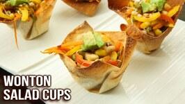 How To Make Wonton Salad Cups - Crispy Wonton Cups - Easy Appetizer Recipe - Ruchi