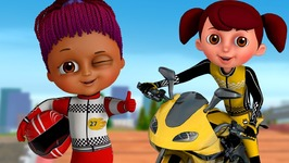 Learn Colours and Shapes in Bike Race and Surprise Eggs Bikes Toys - ChuChu TV Funzone 3D Motorsports