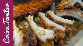 Costilla de cerdo asada con salsa Barbacoa. Como hacer la salsa BBQ