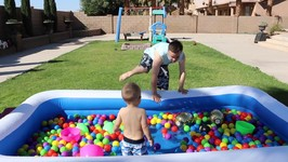 EASTER POOL TOY HUNT WITH GIANT EGG PRIZES!!