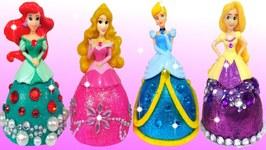 Play Doh Making Colorful Sparkle Disney Princess Dress Ariel Rapunzel Glitter Toys For Kids