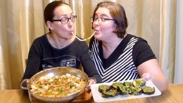 Udon Noodles And Eggplant With Jalapeno And Celery Salsa -Gay Family Mukbang- Eating Show