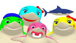 Finger Family Sharks 3D - Baby Fun - Teach Toddlers Family Names - Children's Song