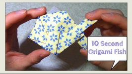 Fold an Origami Fish, UNDER 10 SECONDS- Origami Challenge: Make a Paper Fish FAST - Jeremy Shafer