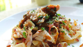 Tagliatelle Pasta with Roasted Chicken, Sauteed Cabbage and Salami