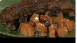 Chili Pineapple Glazed Ribs with Sweet Potato and Pecan Salad