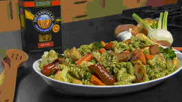 Oven-roasted Vegetables with Rotini & Rosemary Pesto