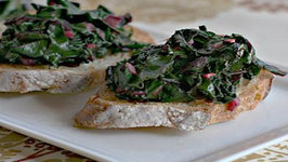 Spicy Beet Green Crostini