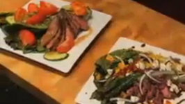 Flat Iron Steak with Grilled Romaine Vine Ripe Tomatoes