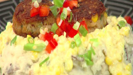 Crab Croquettes and Creamy Corn Sauce Over Mashed Potatoes