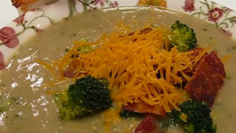 Betty's Bacon and Cheddar Topped Broccoli Soup