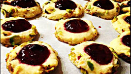 Making Pistachio and Blackcurrant Jam Thumbprint Cookies