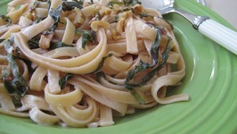 Fettuccine with Goat Cheese, Swiss Chard and Walnuts