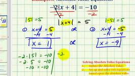 Ex 3:  Solving Absolute Value Equations (Require Isolating Abs. Value)