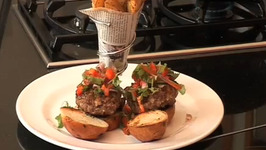 Beef Burgers with Baked Potatoes