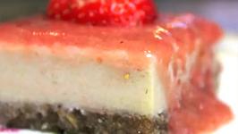 Organic and Vegan Strawberry Cheesecake