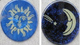 Sun and Moon Stenciled Resin Coasters Another Coaster Friday