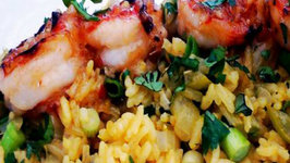 Grilled Prawns Over Pineapple Rice