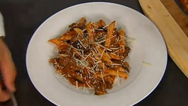 Penne with Roasted Eggplant and Savory Mushroom Ragout
