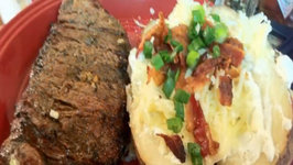 Down and Dirty Steaks With Loaded Baked Potatoes