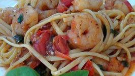 Shrimp Linguini with Burst Tomatoes and Fresh Basil