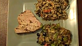 Ahi Tuna, Vegetable Brown Rice and Mixed Greens Salad