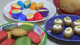 Easter Recipes 2013 - Baked Baby Potatoes, Rainbow Butter Cookies and Hard Boiled Eggs