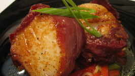 Diver Scallops Wrapped In Jamón Over Piquillo Pepper Salad