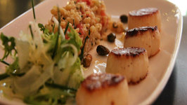 Lulus Pan Roasted Sea Scallops with Red Quinoa, Parsnips and Limonata