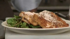 Low Fat Chicken Scallopini on Spring Greens with Lemon Wine Dressing